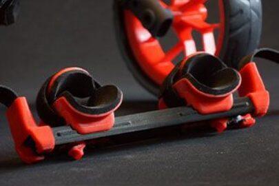 vozík pro psy, zadní hrazda, úchytky nohou, červená