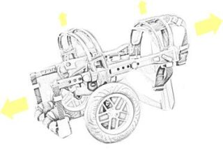 anyonego cart for dogs, sketch of anyonego wheelchair