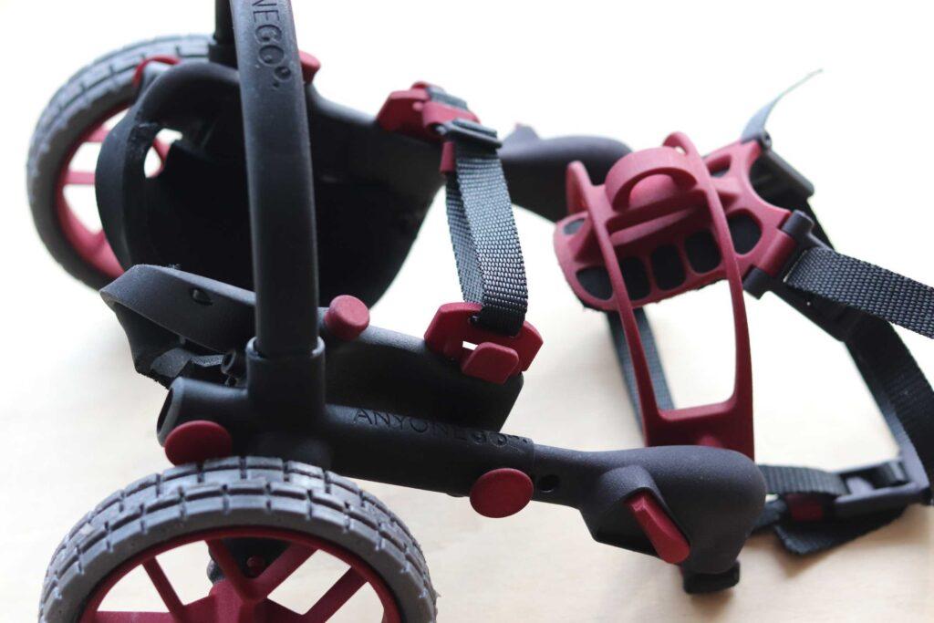 3D printed dog wheelchair, 3D printed dog cart, anyonego